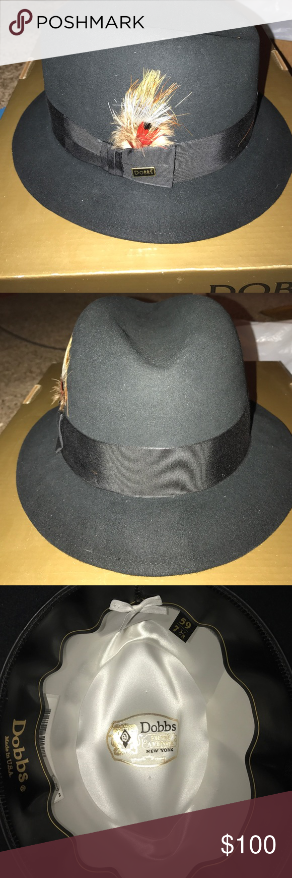 9eab516f90ba Donna Dutton Black Hat Feather is slightly shedding. Dutton 07 Black with a  17 8 inch brim. Size 7- 3 8. Good condition worn lightly.