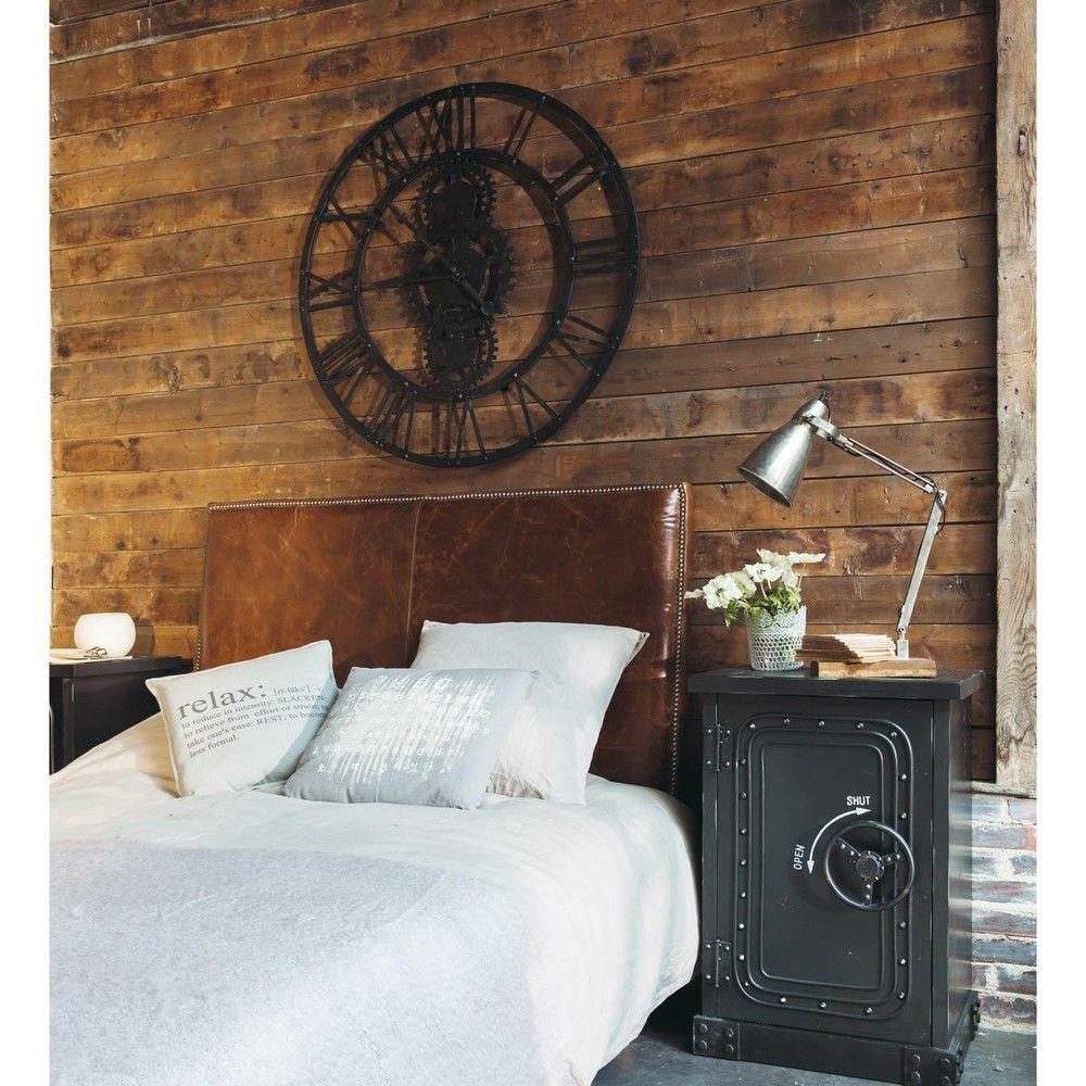 tte de lit en cuir marron effet vieilli l 160 cm andrew maisons du monde - Maison Du Monde Tete De Lit