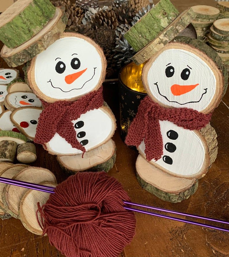 Large Oak Wood Slice Snowman Christmas Ornament / Rustic Oak | Etsy