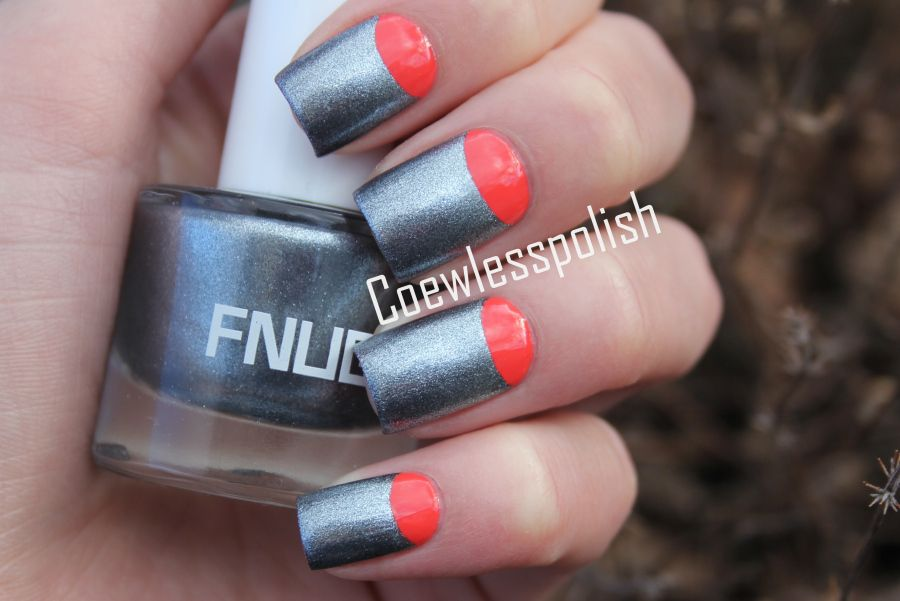 Red and gray nails cute