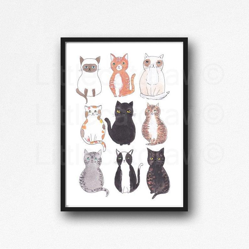 print 10x15cm Illustration of cute cats