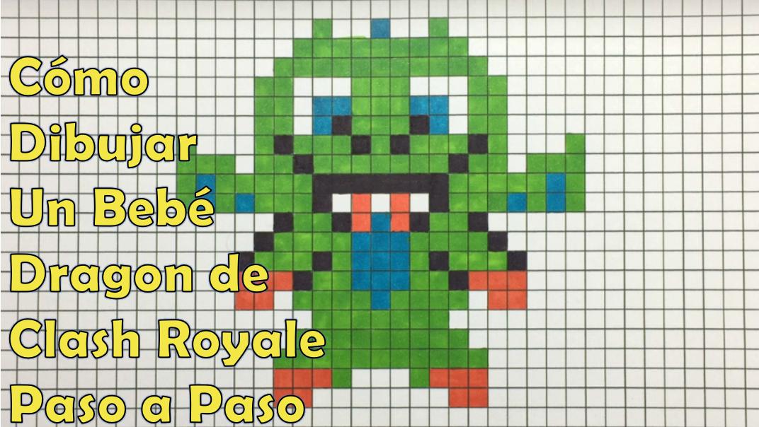 Como Dibujar Un Dragon Bebe De Clash Royale En 8 Bit O Pixel Art