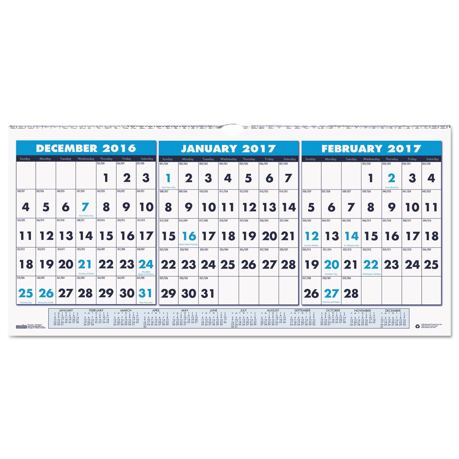 recycled three month horizontal wall calendar 23 1 2 x 12 on office wall colors 2021 id=31058
