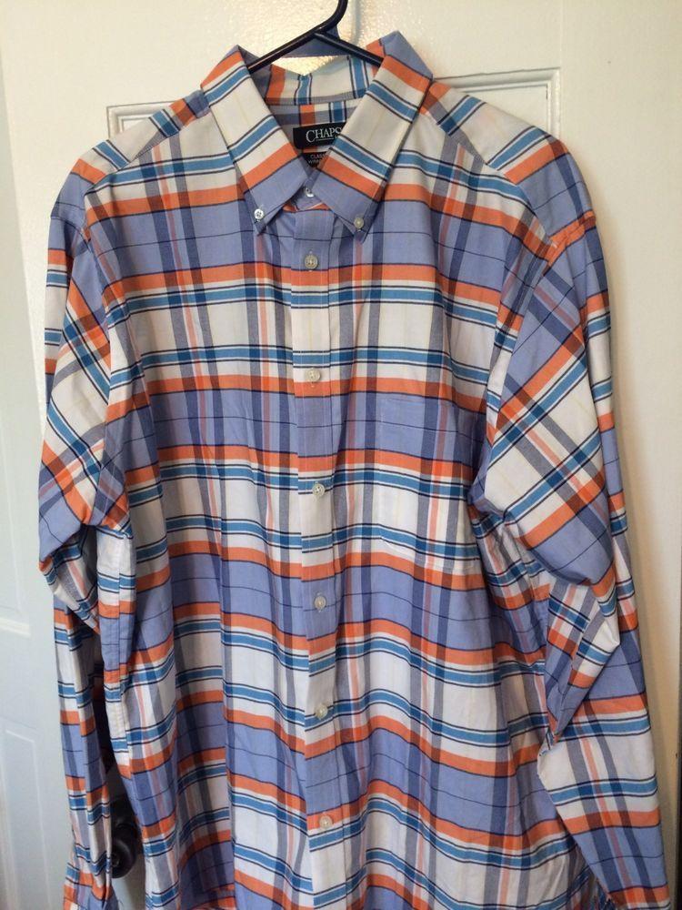 dd3a078ab9 CHAPS Men s Long Sleeve Oxford Shirt Orange Blue White Stripe Size 17 17  1 2 EUC  Chaps  Oxford