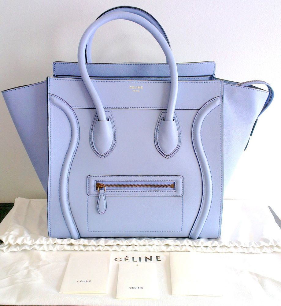 NEW Auth Celine Mini Luggage Pale Sky Blue Smooth Calf Leather Tote Handbag  Bag 7eb9096a39d98