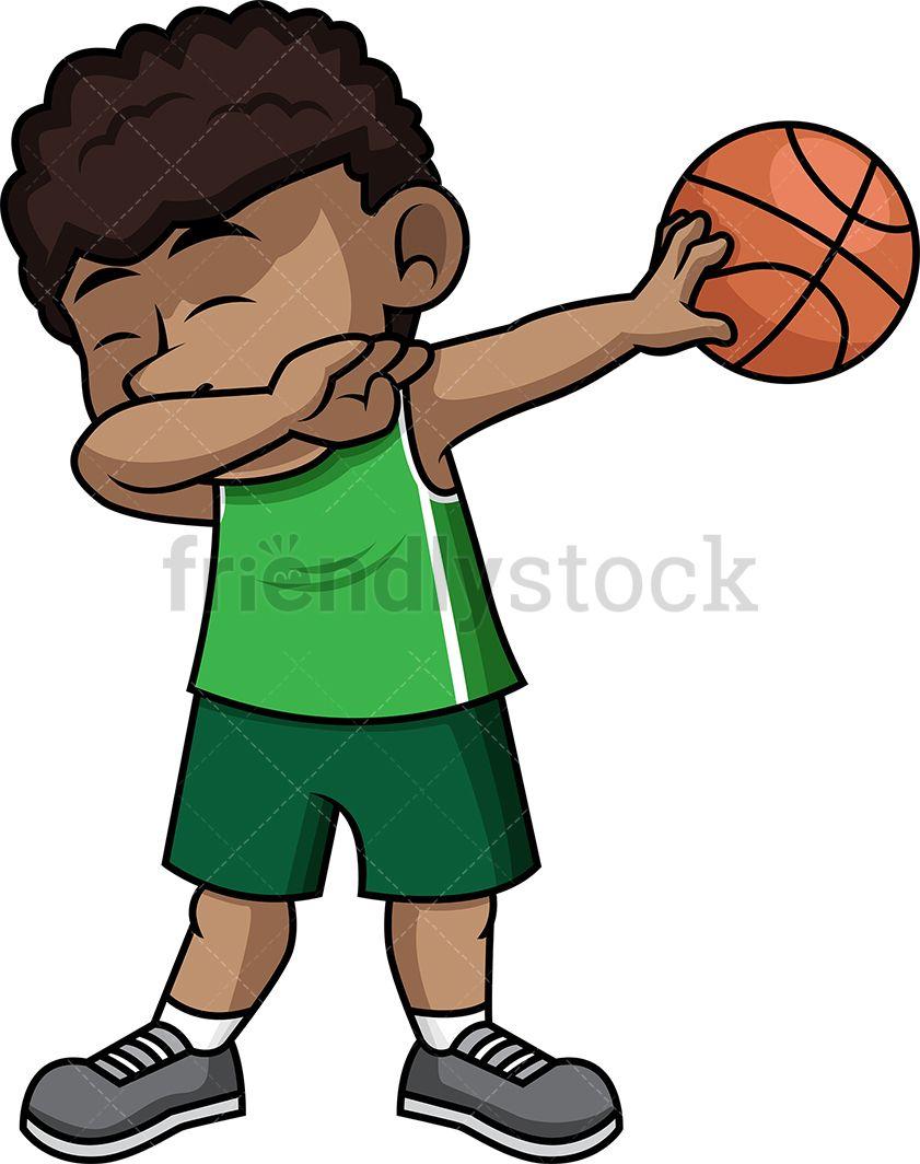 Black Basketball Boy Dabbing Cartoon Vector Clipart Friendlystock Free Cartoons Free Clip Art Free Illustrations