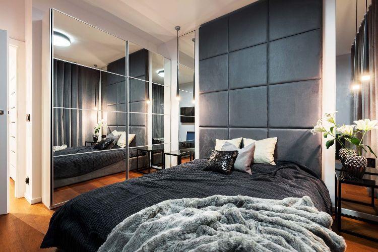 Polsterwand Im Schlafzimmer Wandpaneel Bett Rückenpolster Wand Rückenlehne  Polster Design Stoff Gewebe Pendelleuchte Schwarz Leder Modern