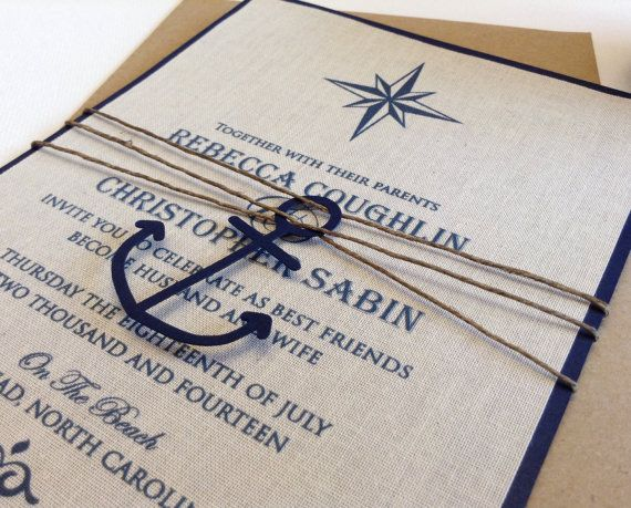 Nautical Wedding Invitation - Linen Wedding Invitation - Handmade - fresh invitation letter canada sample