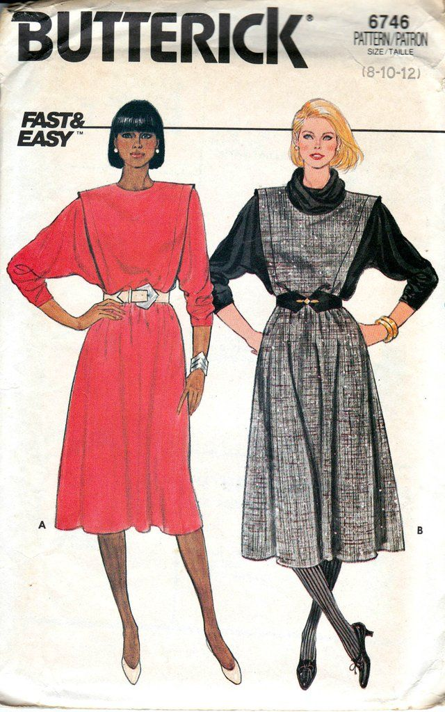 Butterick 6746 Womens Batwing Sleeve Dress 80s Vintage Sewing ...