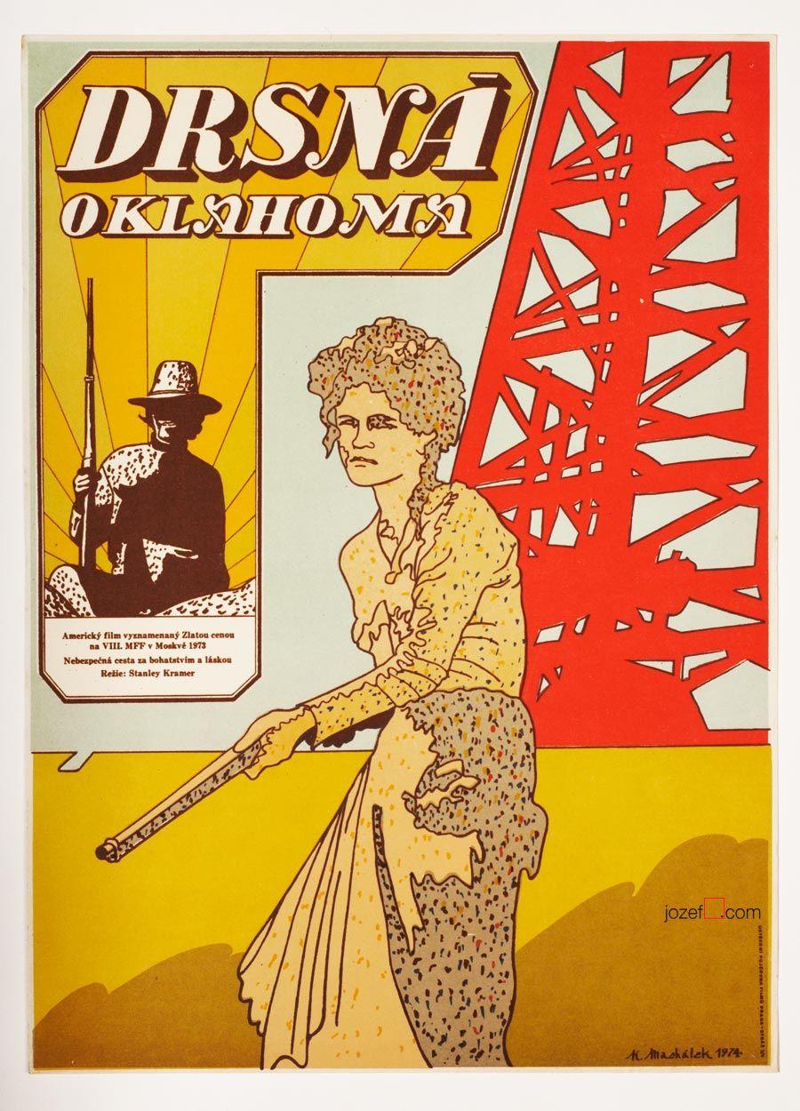 70s poster design - Vintage 70s Movie Poster For Stanley Kramer S Drama Oklahoma Crude Poster Design By Karel Mach Lek