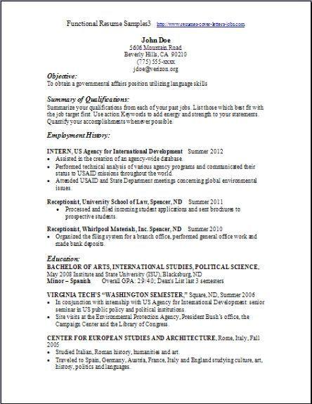 Functional Resume Template Free -   wwwresumecareerinfo