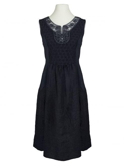 Leinenkleid Kordelstickerei, schwarz von Diana ...