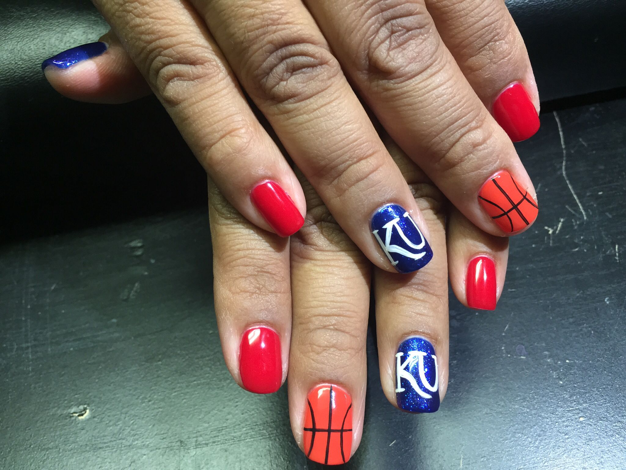 My Awesome KU Basketball Nails!! Done by Katelyn Bacon!! | Ku ...