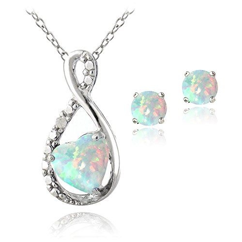 Sterling Silver Created White Opal  Diamond Accent Infinity Heart Necklace  Earrings Set ** You can find more details by visiting the image link.