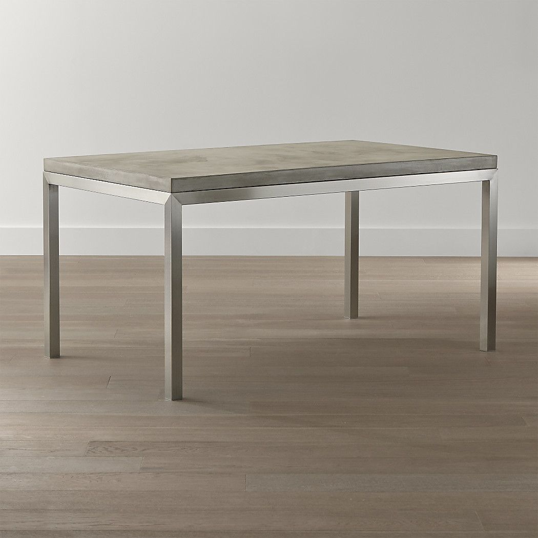 Parsons Concrete Top Stainless Steel Base 72x42 Dining Table