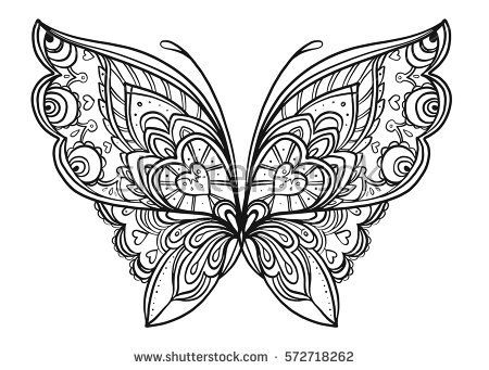 Hand Drawn Butterfly Zentangle Style Inspired For T Shirt Design Or