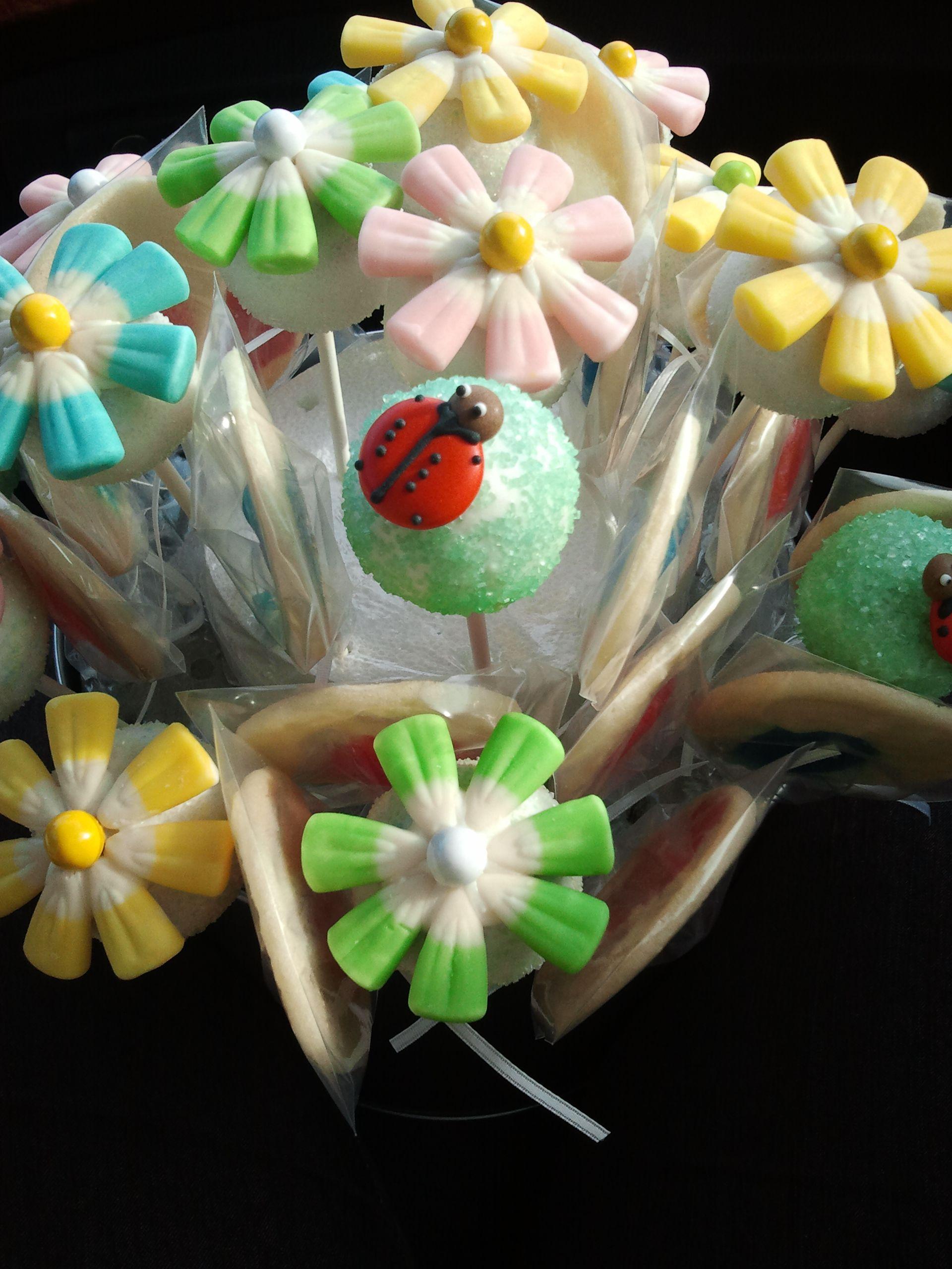 Flower bouquet cake pops cyndis cake pops pinterest cake pop flower bouquet cake pops izmirmasajfo