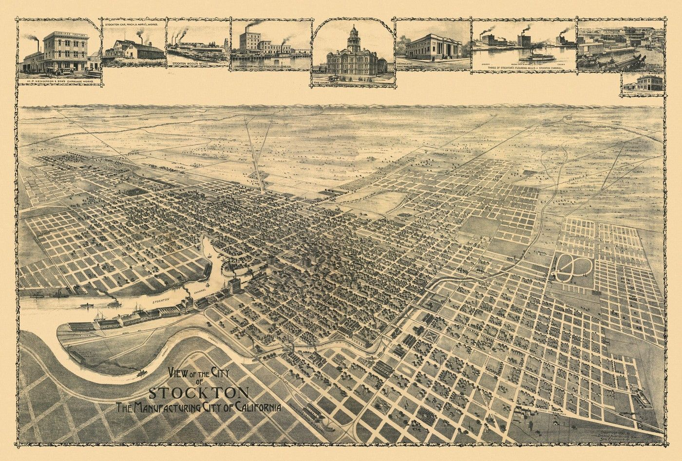 View of city of Stockton the Manufacturing City of ...