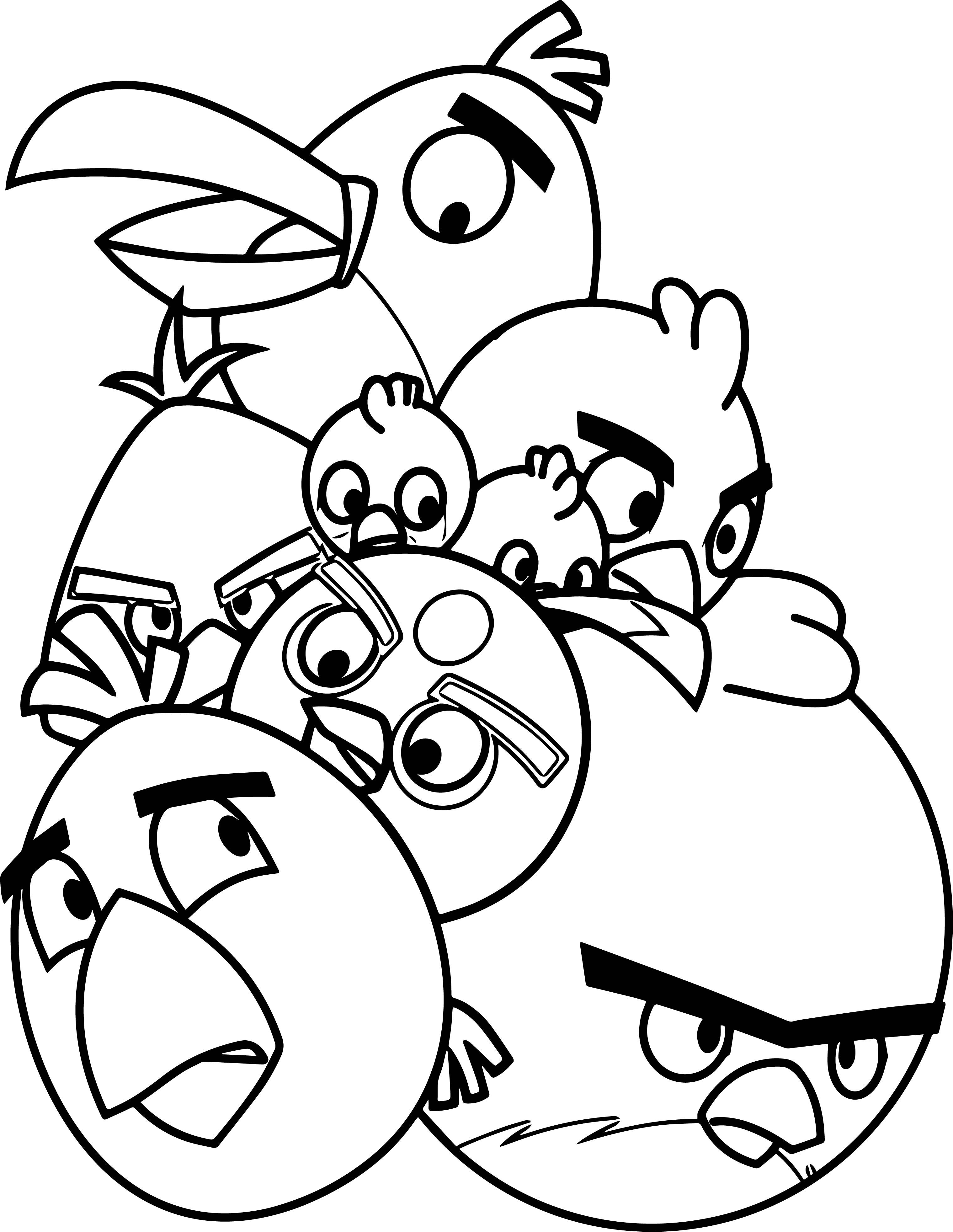 Nice Pile Of Angry Birds Coloring Page