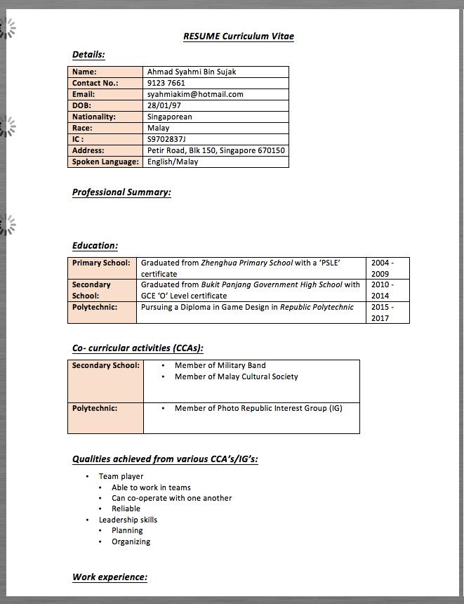 Resume Curriculum Vitae Details Name Ahmad Syahmi Bin Sujak Contact No 9123 Curriculum Vitae Resume Sample Resume Templates Resume Design Template