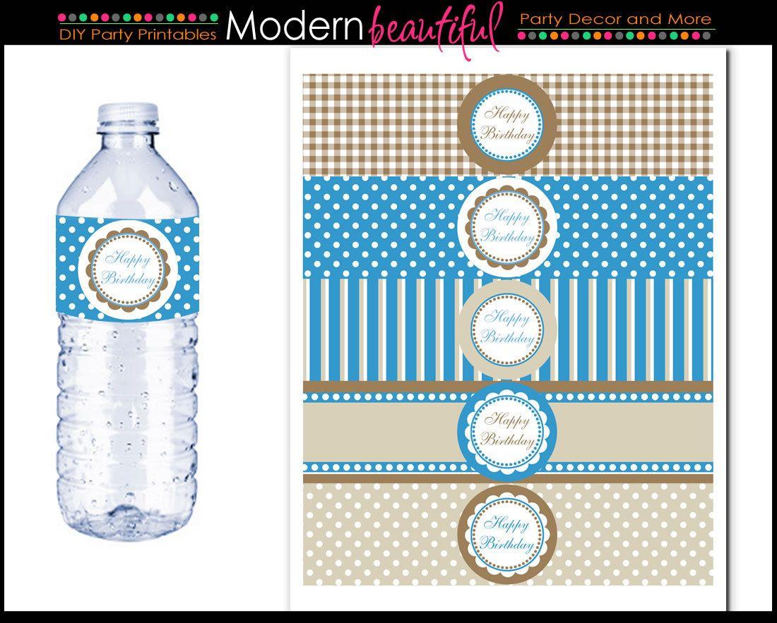 Blue Water Bottle Labels Classic Chic. $8.00, via Etsy.