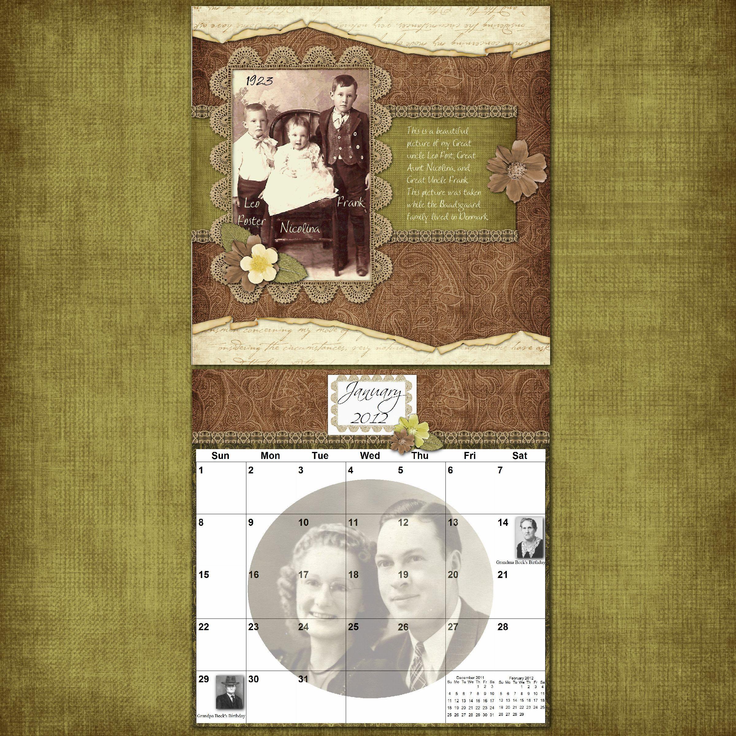 How to scrapbook family tree - Family History Calendars Scrapbook Com