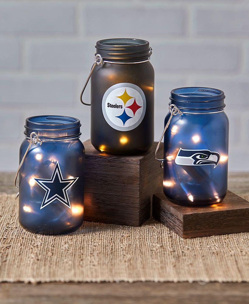 Nfl Lighted Mason Jars Mason Jar Crafts Diy Mason Jar Diy Mason Jar Projects