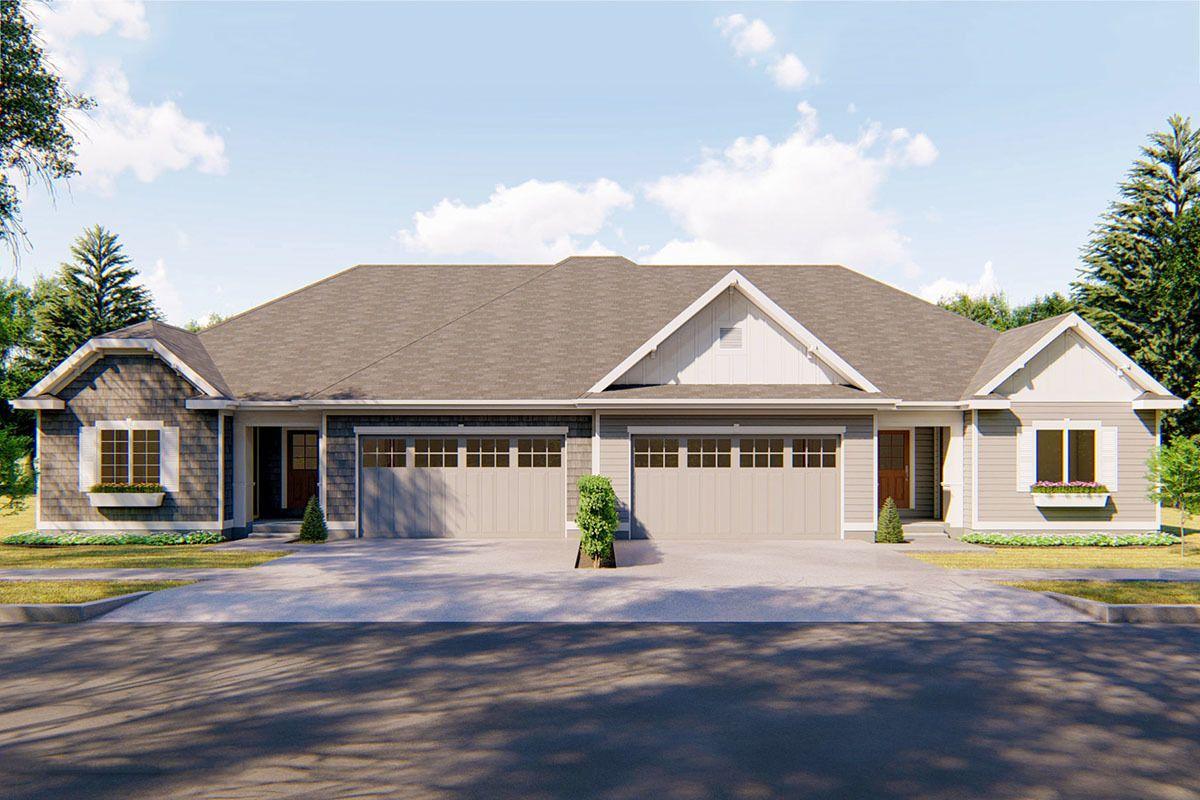 Plan 62562dj Easy To Build Duplex House Plan In 2020 Duplex House Plans Duplex House House Plans