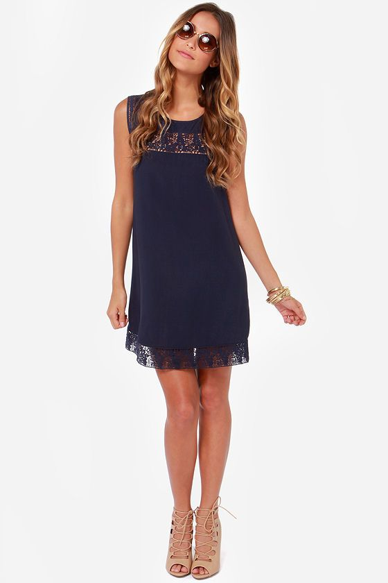 7b01876585d LULUS Exclusive Hotel California Navy Blue Shift Dress at LuLus.com ...