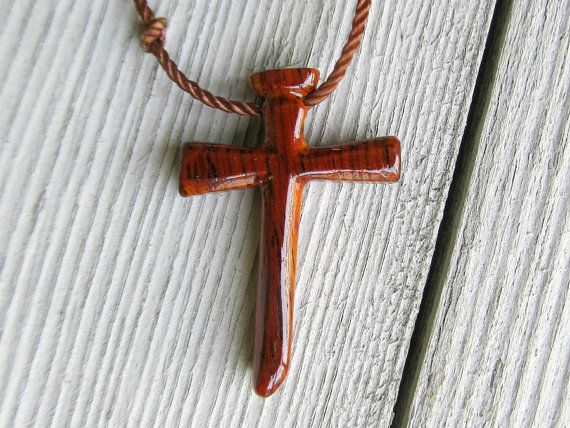 Men's Cross Necklace  Mexican Cocobolo  Reclaimed Wood by The Lotus Shop, $14.95