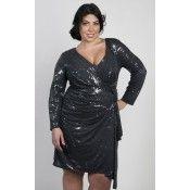Faux Wrap Sequin Dress