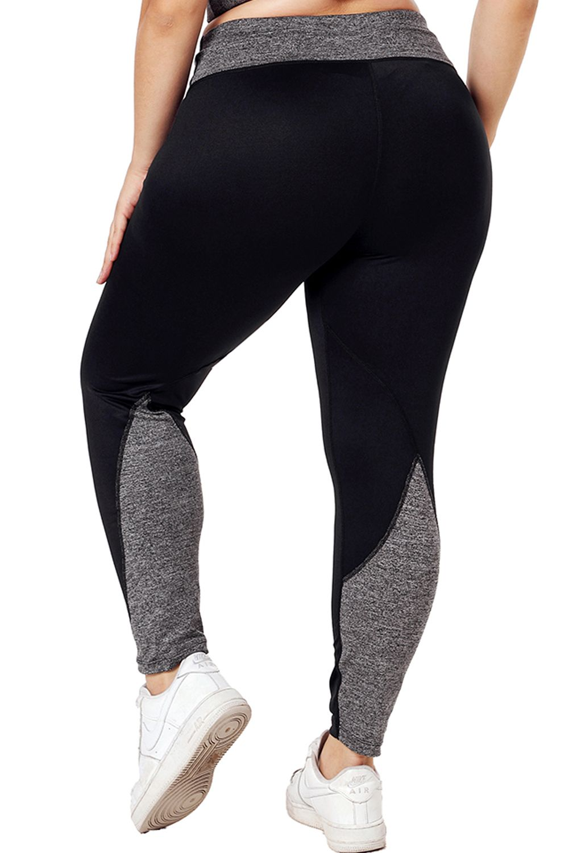 Photo of Black Heathered Splice Plus Size Yoga Pants
