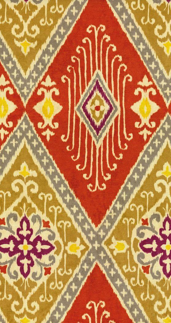 Home Decor Print Fabric- IMAN Ikat Diamond Spice