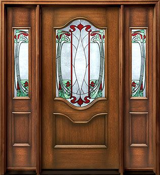 International Door and Latch Art Nouveau 7701 door entry system & Door with stained glass insert and sidelights | **Splendor in the ...