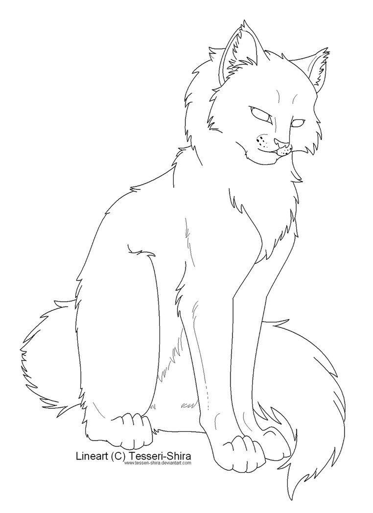 Free Lineart Longhair Cat By Nova Nocturne Art In 2019