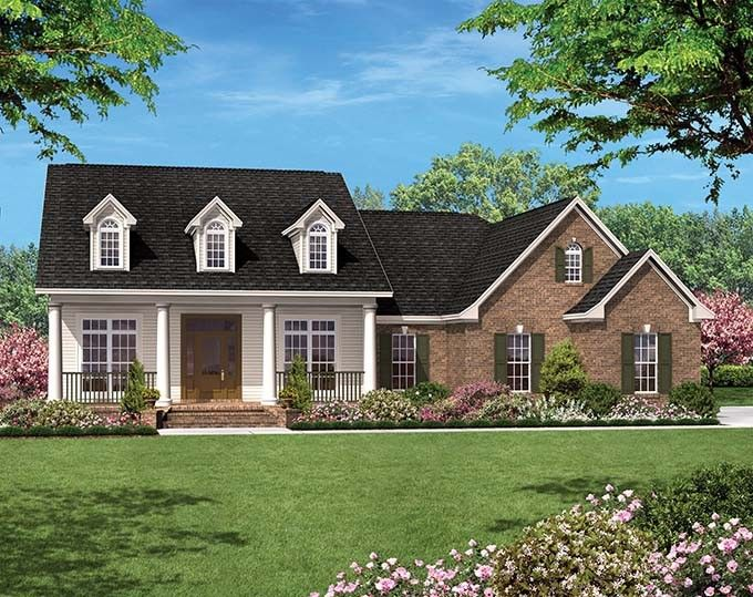Colonial Style House Plan 3 Beds 2 Baths 1500 Sq/Ft Plan
