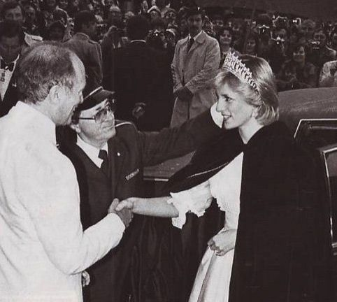 June 15, 1983: Princess Diana arriving at a State Dinner and being greeted by her host, Prime Minister Pierre Trudeau at the Hotel Nova Scotian in Halifax. (Day 2)