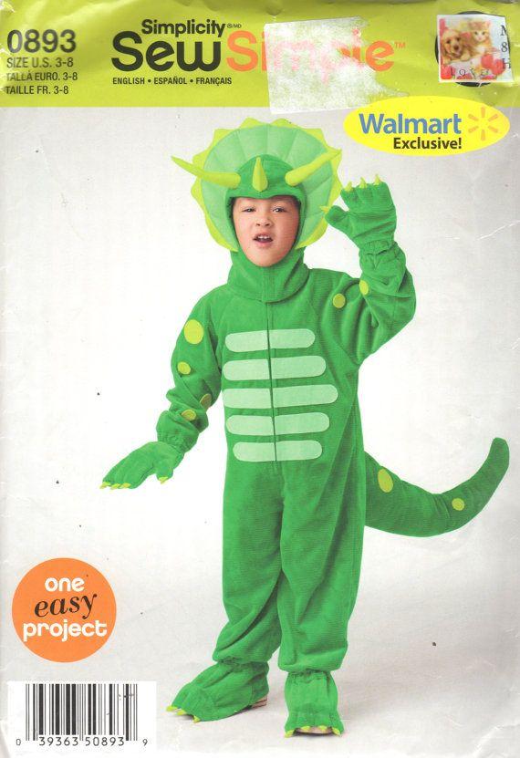 Simplicity 0893 Boys Girls Dinosaur Costume Pattern Triceratops