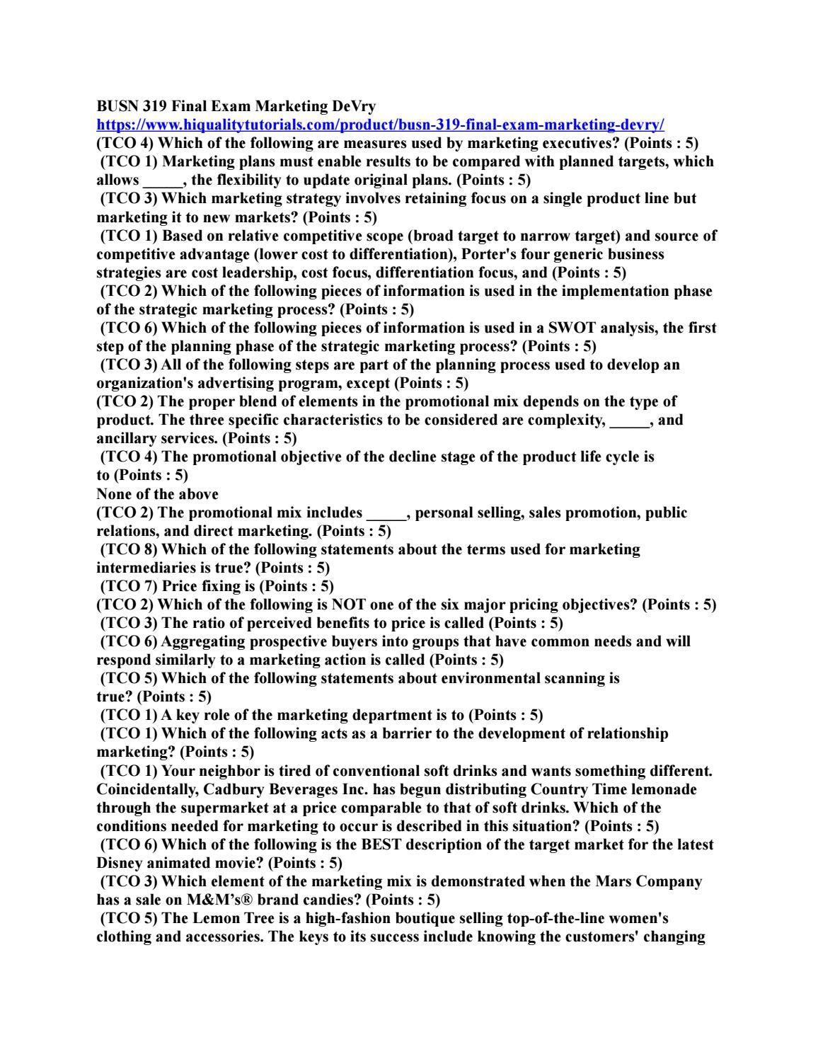 BUSN 319 Final Exam Marketing DeVry | Hiqualitytutorials com