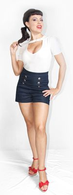 Indigo High Waisted Anchor Shorts from Unique Vintage for $56.00