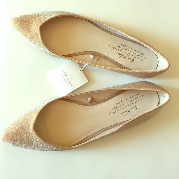 Zara Gold Flats New with tags, dust bag included, no trades make an offer using offer feature for serious inquiries :) follow me on Instagram @iluvshoes22... Size is 37 but they run small they fit like a 6.5 , listed accordingly  PRICE IS FIRM :) Zara Shoes Flats & Loafers