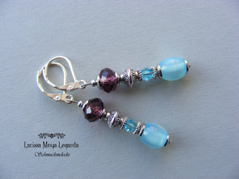 herren begrenzter Preis 100% original Elegante Ohrhänger mit Glasperlen türkis blau - lila ...
