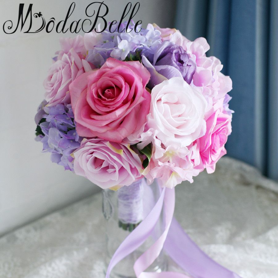 Click to Buy << Modabelle Pink Purple Artificial Wedding Bouquets ...