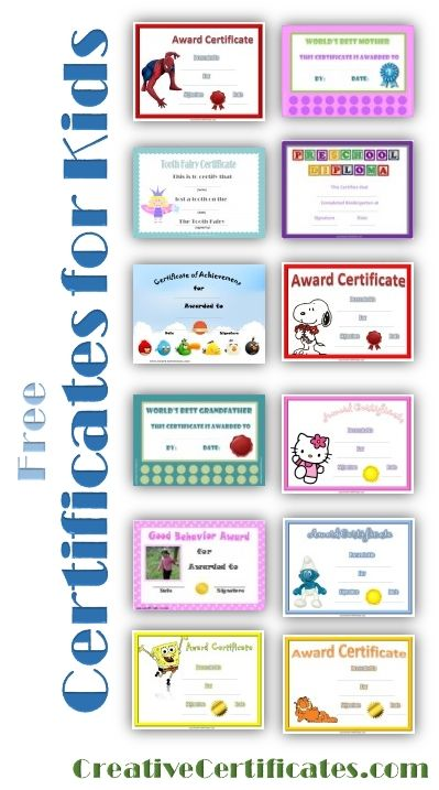 Free printable certificates for kids Printables Pinterest - free customizable printable certificates of achievement
