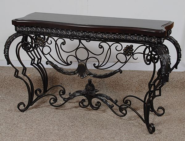 Iron Scroll 56 Inch Entry Console Table   Ebony Black Finish