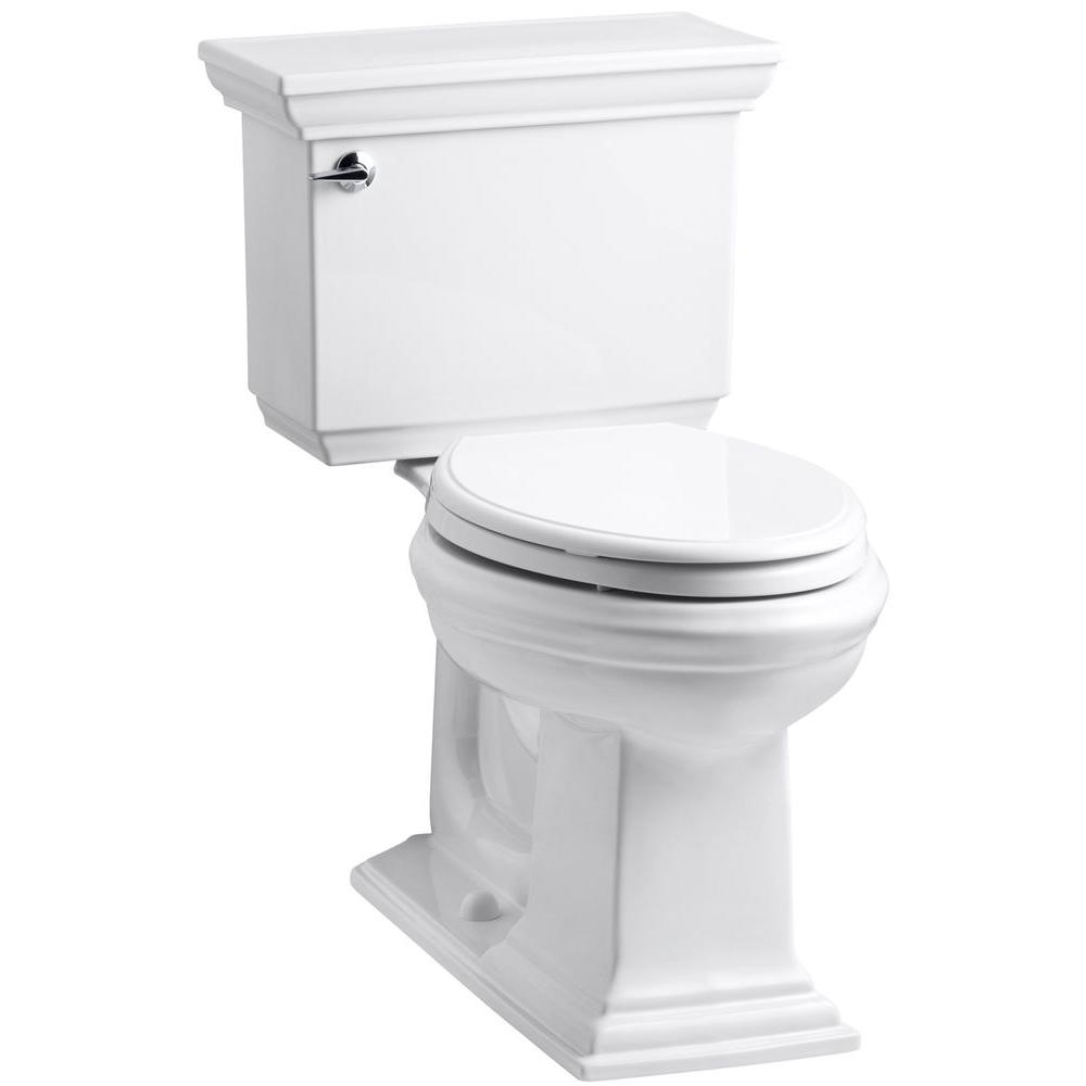 Kohler Memoirs Stately 2 Piece 1 6 Gpf Single Flush Elongated Toilet With Aquapiston Flush Technology In White K 3819 0 The Home Depot Kohler Memoirs Kohler Toilet Seat