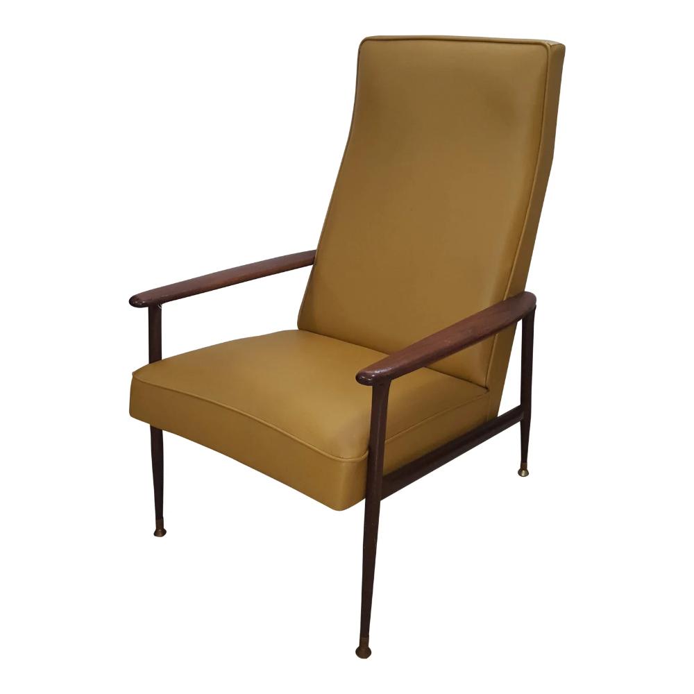 Mid Century Yellow Floating Lounge Chair: Vintage Mid-Century Modern Baumritter Mustard Yellow High