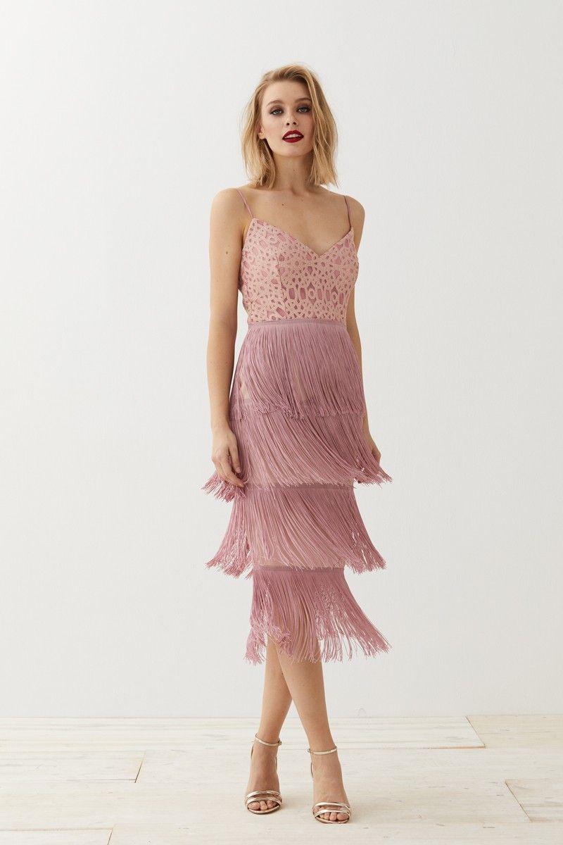 53bbb13bd3 Vestido lencero rosa brocado flecos Clea