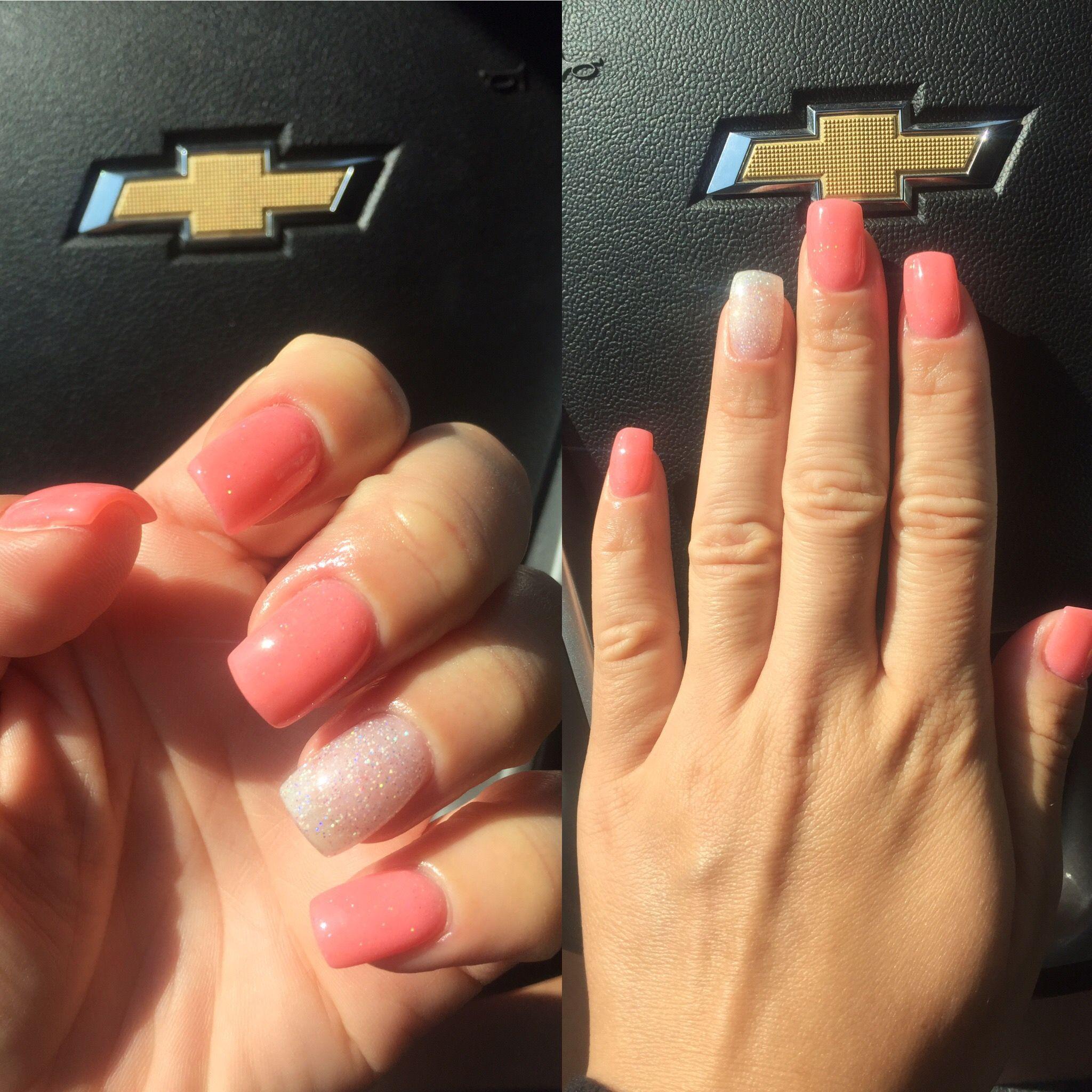 SNS Nails Coral & Glitter   My SNS Nails   Pinterest   Sns nails