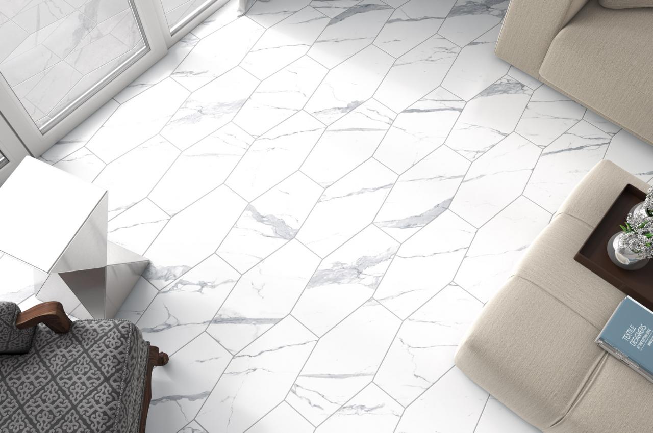 Belle Arti Statuario Elongated Hexagon Tile Floor M2tilestone